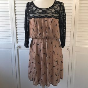 Black Rainn Pleated Dress with Lace Size Medium
